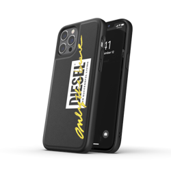DIESEL MOULDED CASE EMBROIDERY IPHONE 12 PRO MAX BLACK/YELLOW